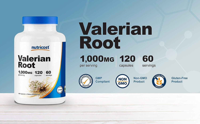 Nutricost Valerian Root Capsules (1000mg Per Serving) 120 Capsules - Vegetarian Caps, Gluten Free and Non-GMO