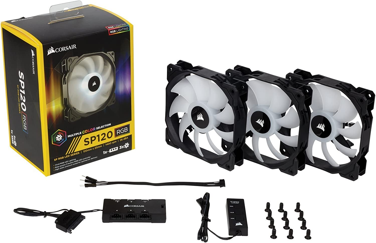 120mm High Performance RGB LED Three Fans with Controller SP120 RGB LED Corsair CO-9050061-WW SP Series Renewed