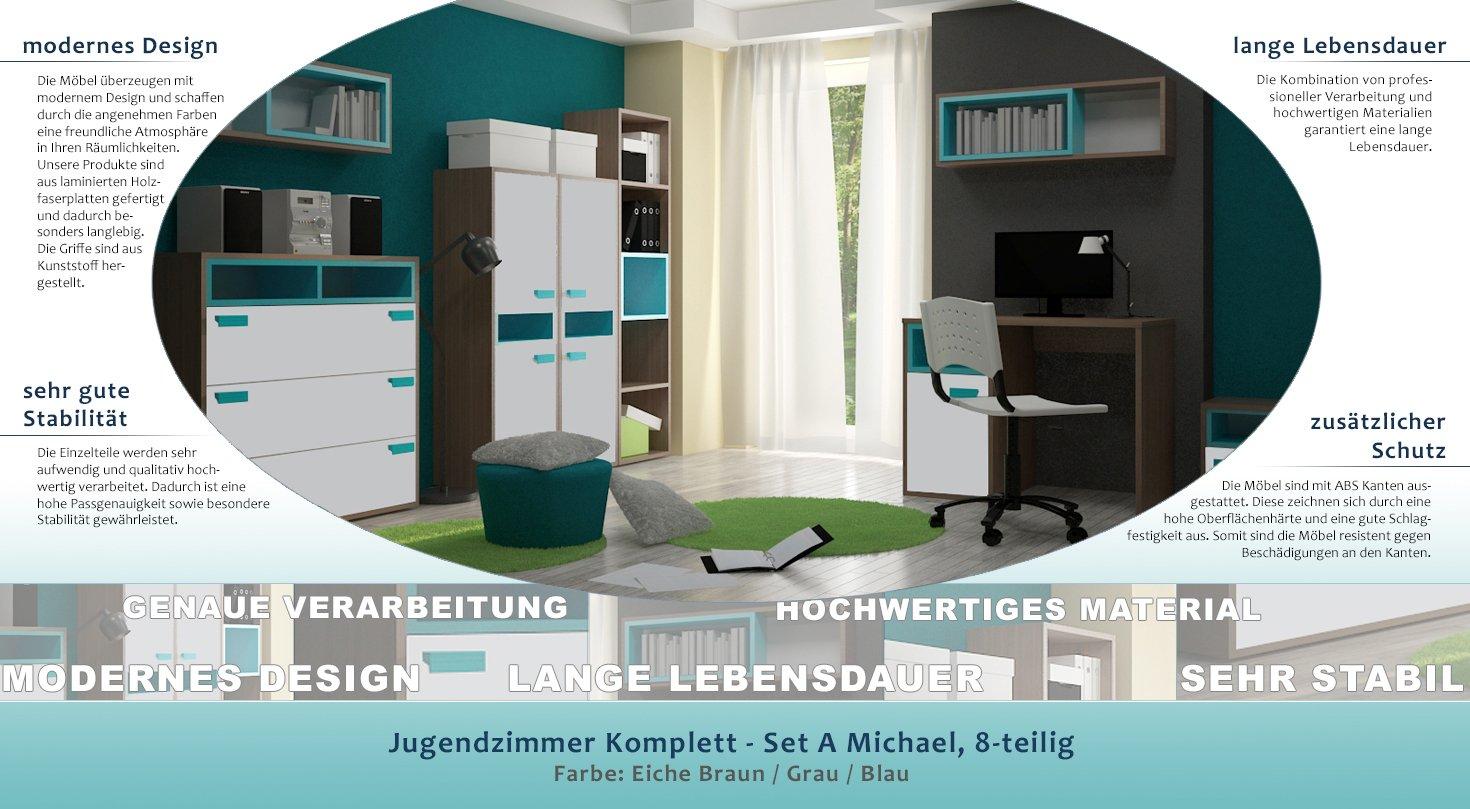 Verführerisch Jugendzimmer Komplett Jungen Referenz Von - Set A Michael, 8-teilig, Farbe: Eiche