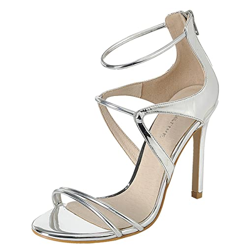 76dd0bd437 Amazon.com | Forever Link Womens Open Toe Single Sole Triple Ankle Strap  Metallic Stiletto Heel Sandals Pump | Heeled Sandals