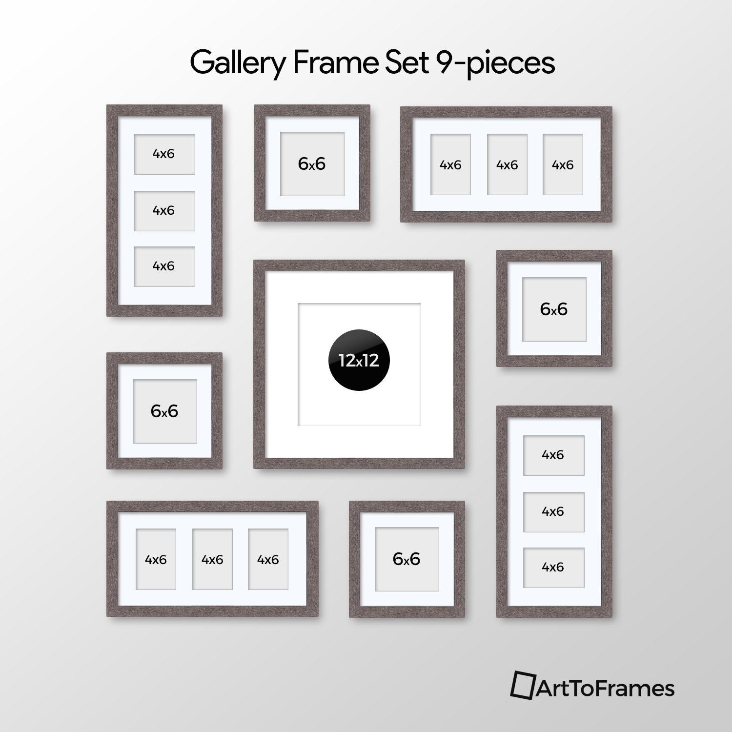 ArtToFrames Picture Frame 9 Piece Wall Set, (4) 6x6, (1) 12x12, (4) 6x4 inch, Gray Frames, White Display Mats