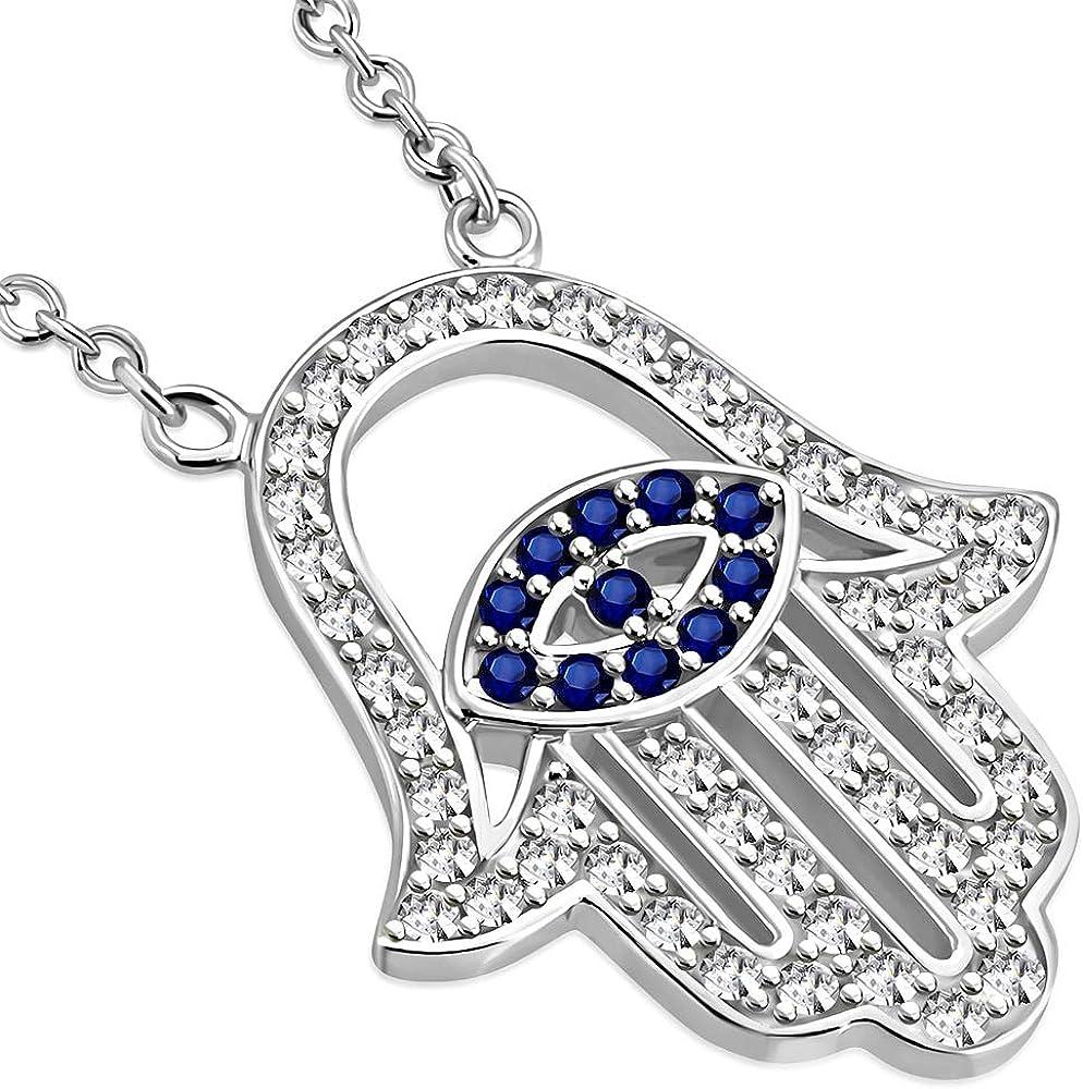 MEN WOMEN 925 STERLING SILVER LAB DIAMOND ICED EVIL EYE HAMSA HAND PENDANT*SP151