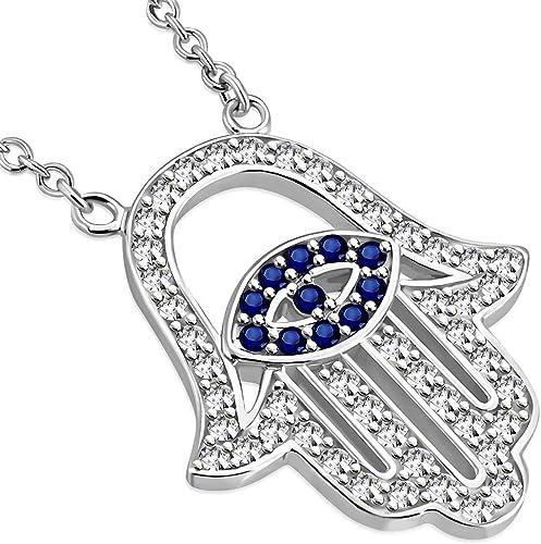 "Womens 925 Sterling Silver Cubic Zirconia Evil Eye 0.75/"" Pendant"