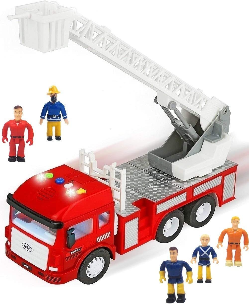 Hey Toy Fire Truck with Extending Ladder Battery-Powered Lights Siren Sounds and Bump-n-Go Movement for Toddlers Boys and Girls Play Brown
