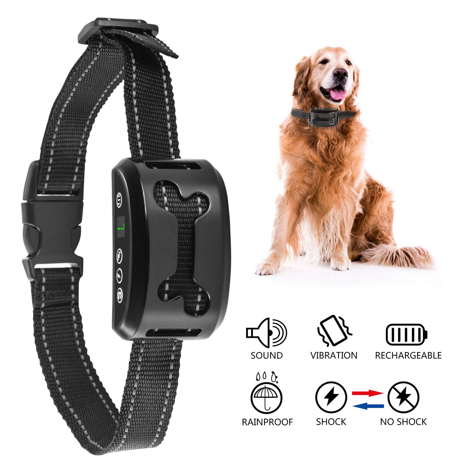 BESTTRENDY Dog Bark Collar Humane Anti Bark Training Collar No Bark Collar Adjustable Collar with Beep Vibration Harmless Shock Rechargeable Stop Barking Collar for Small Medium Large Dog Pet Black