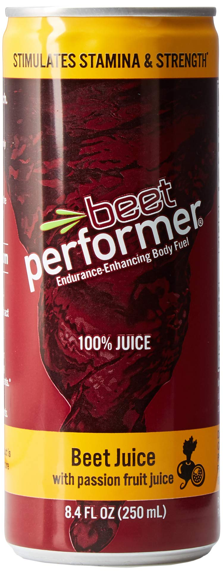 Beet Performer Beet Juice with Passion Fruit Juice 8.4 Fl. Oz. Can (12
