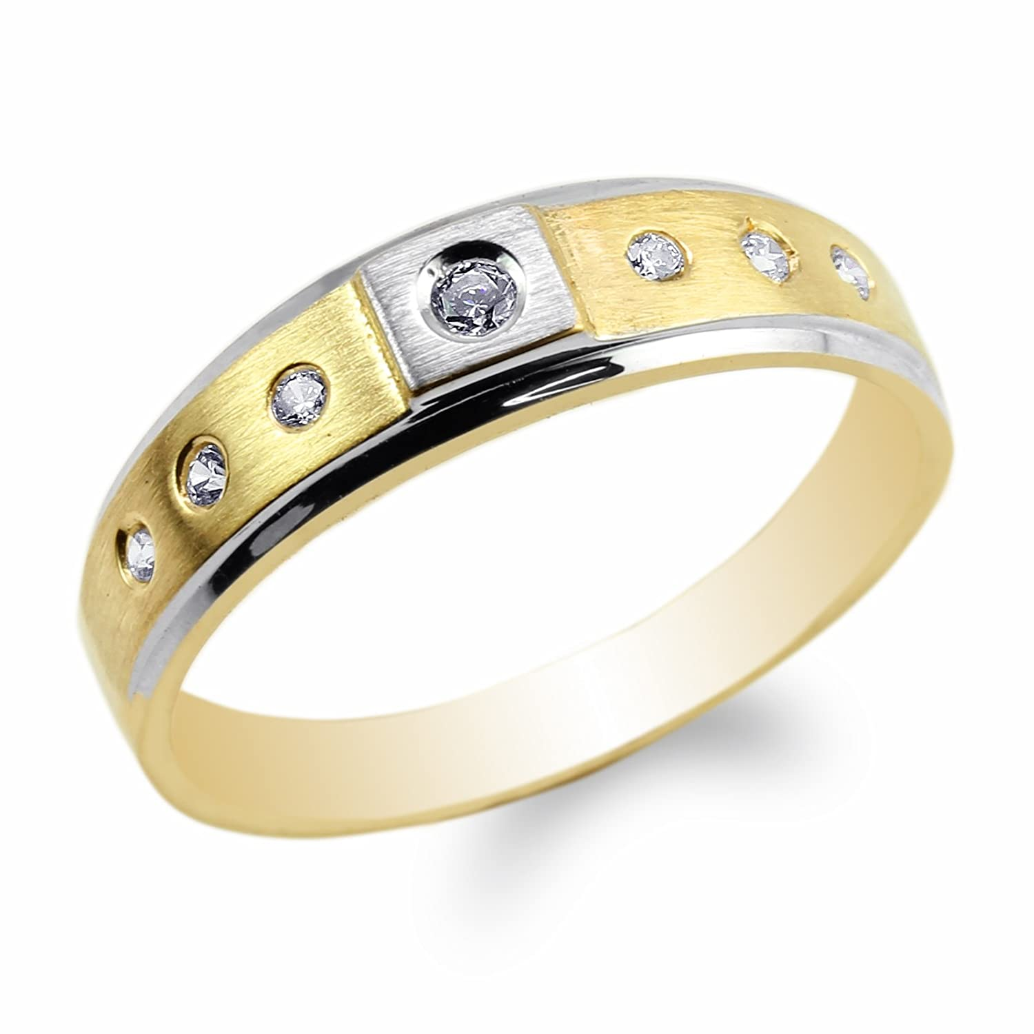 JamesJenny 10K Yellow Gold Two Tone Color Band with Round CZ Embedded Ring Size 7-12