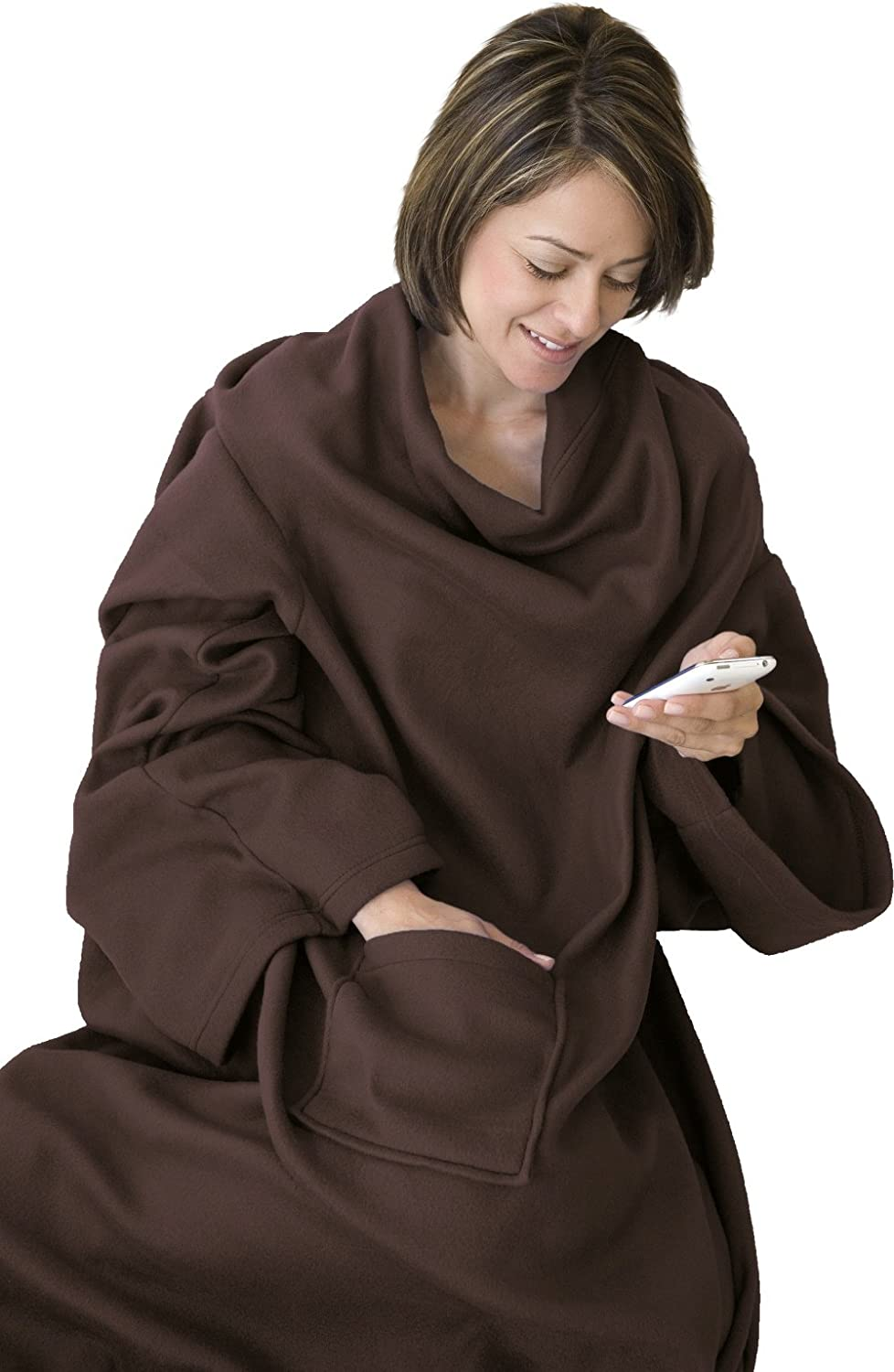KC Caps Super Soft Fleece Blanket with Sleeves and Pocket, Super Cozy Microplush Wearable Throw for Women and Men Adult Comfy Throw Robe, 53
