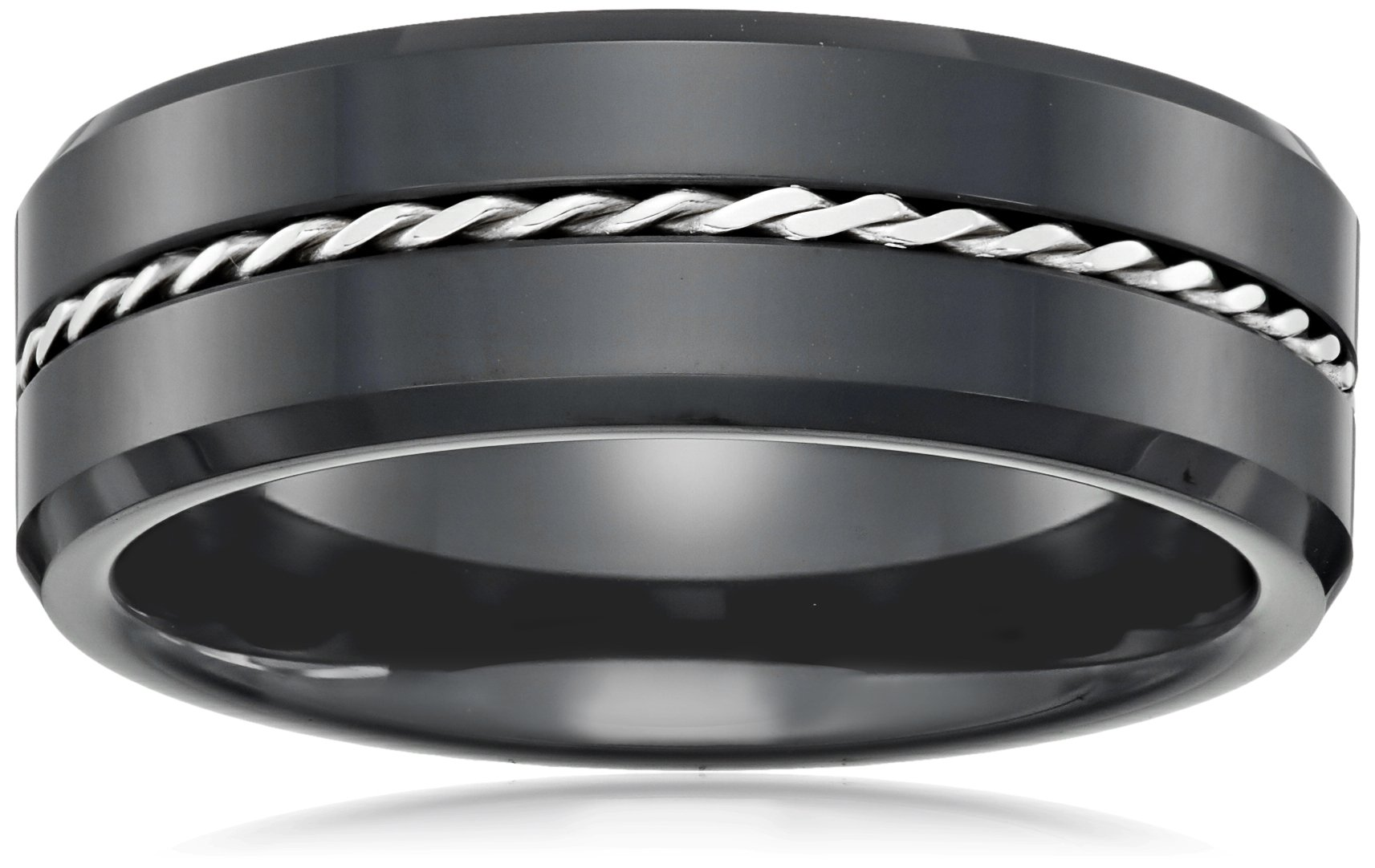Cold Steel Black Ceramic and Silver Ring, Size 9