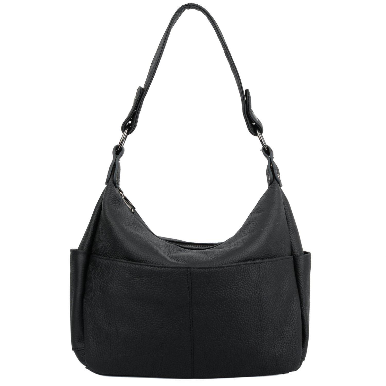 YALUXE Women's Double Zipper Cowhide Leather Hobo Style Shoulder Bag Black 2