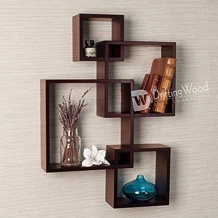 DriftingWood Wooden Intersecting Wall Shelves/Shelf for Living Room | Set of 5