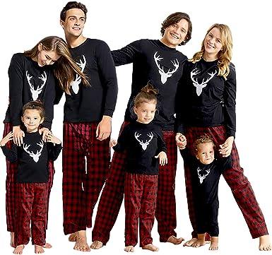Matching Family Christmas Pajamas Sets Xmas PJs with Deer Long Sleeve Tee Top and Classic Plaid Pants Loungewear Sleepwear