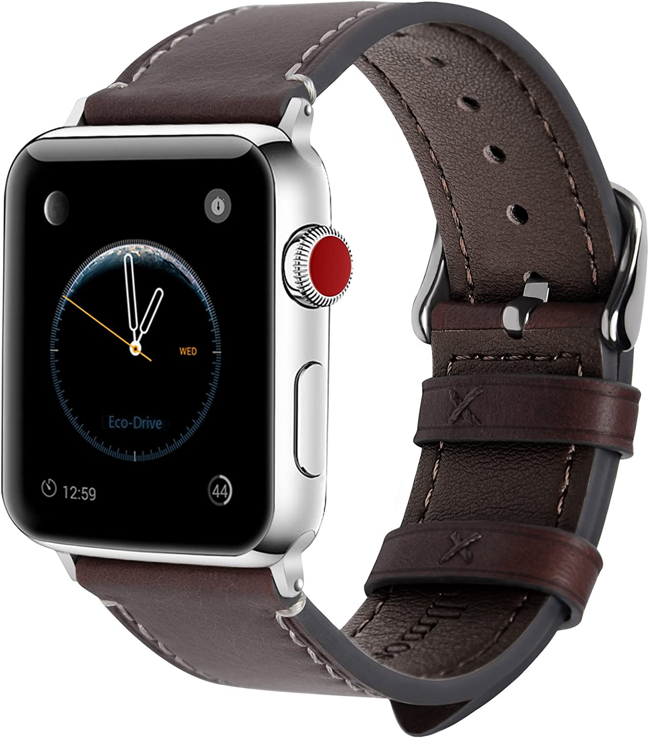 Fullmosa Compatible Apple Watch Band 40mm 38mm 42mm 44mm Leather for iWatch SE & Series 6/5/4/3/2/1, 38mm 40mm Coffee + Silver Buckle