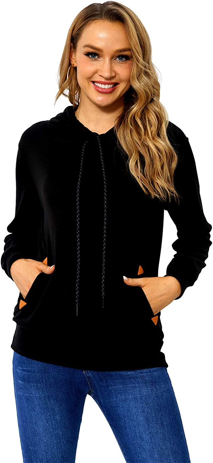 Begonia.K Womens Funnel Neck Hoodie Lightweight Pullover Hooded Sweatshirts
