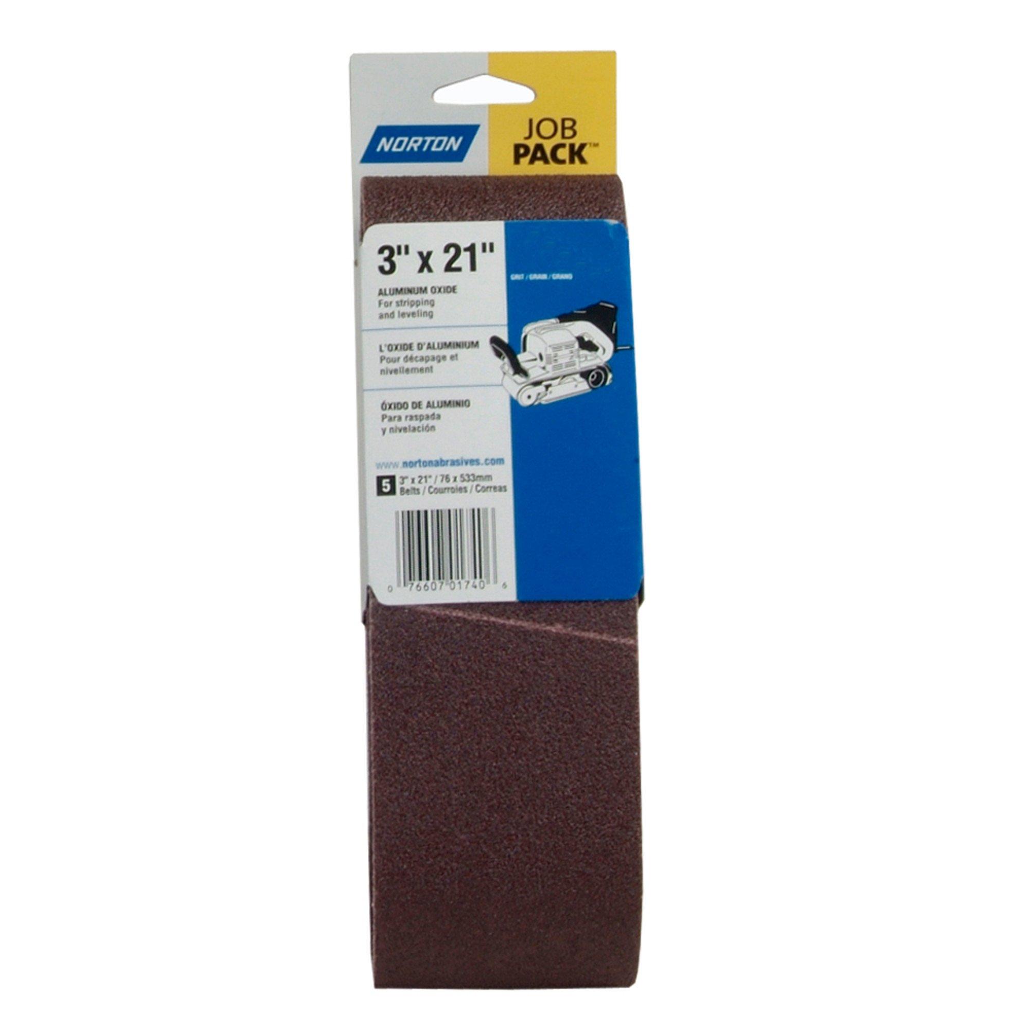 Norton 3X High Performance Portable Belt, Aluminum Oxide, 21'' Length x 3'' Width, Grit 120 Very Fine (Pack of 5)
