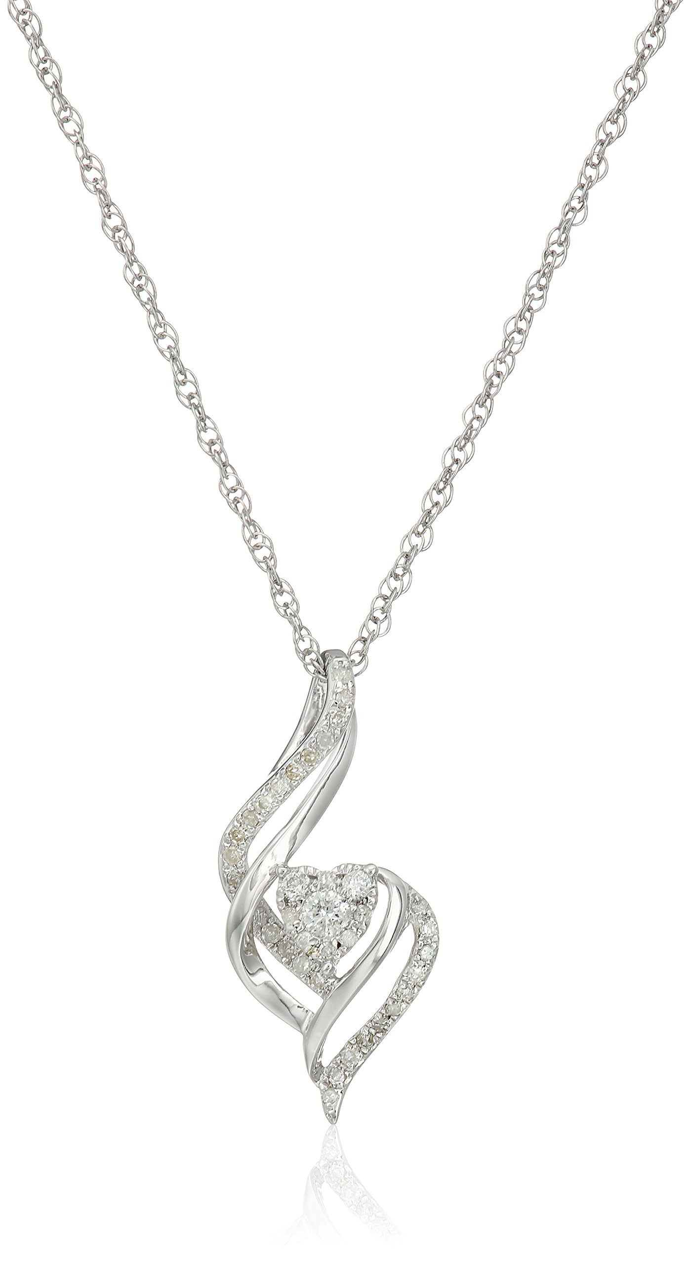 Sterling Silver Diamond Heart Pendant Necklace (1/5 cttw, I-J Color, I2-I3 Clarity), 18''