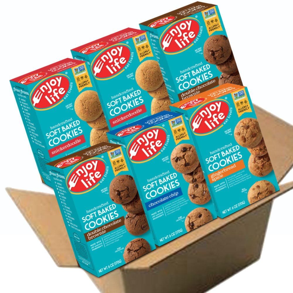 Enjoy Life Soft Baked Cookies, Soy free, Nut free, Gluten free, Dairy free, Non GMO, Vegan, Variety Pack
