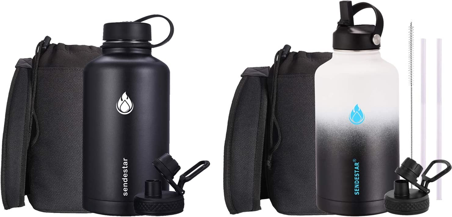 SENDESTAR Water Bottle 64oz with Spout Lid & Sport Lid +64OZ Water Bottle Beer Growler with Spout Lid & Straw lid for wide mouth hydroflask bottles, Vacuum Insulated 18/8 Stainless Steel