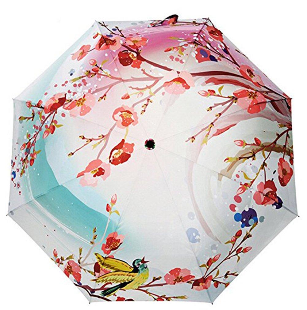 Estwell Folding Compact Outdoor Travel Umbrella Windproof UV Protection Sun Rain Umbrella with Art Print