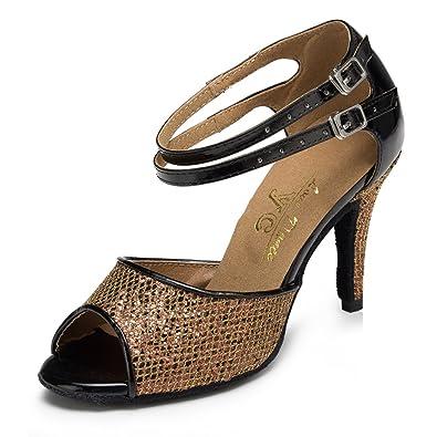 JSHOE Frauen Latin Salsa Tanzschuhe/Tango/Tee/Samba/Modern/Jazz Schuhe Sandalen High HeelsRed-heeled5cm-UK55