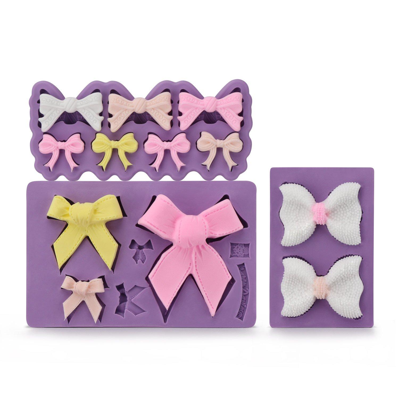Bow Fondant Mold, Beasea 3pcs Candy Sugar Craft Fondant DIY Gumpaste Cake Decoration Cupcake Decorating Toppers Clay Purple by Beasea (Image #2)
