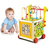 O-Toys 7 in 1 Wooden Toys Kids Learning Educational Toy Bead Maze Activity Cube Game Baby Walker for Toddlers