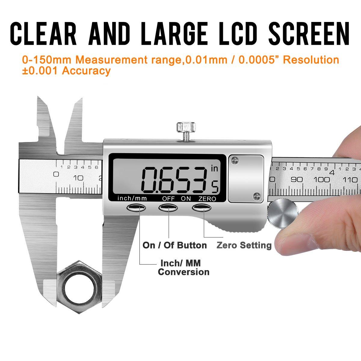 6/\//150/mm/ /acier inoxydable Magnifier automatique Pied /à coulisse avec grand /écran LCD Vis de s/écurit/é Poulie Pied /à coulisse /électronique num/érique hurrise