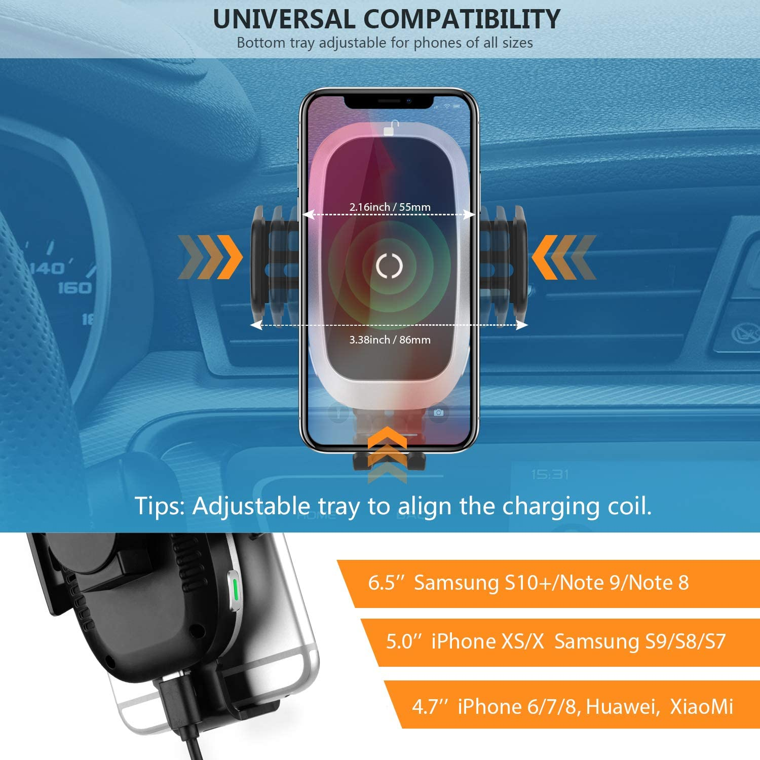 Samsung S10//S9//S8- Full Automatic Arms WixGear Auto-Clamping Fast Wireless Car Charger Cup Phone Holder for Car Xs//MAX//XS//XR//X//8// Wireless Car Charger 10W Qi Fast Charging Compatible iPhone 11