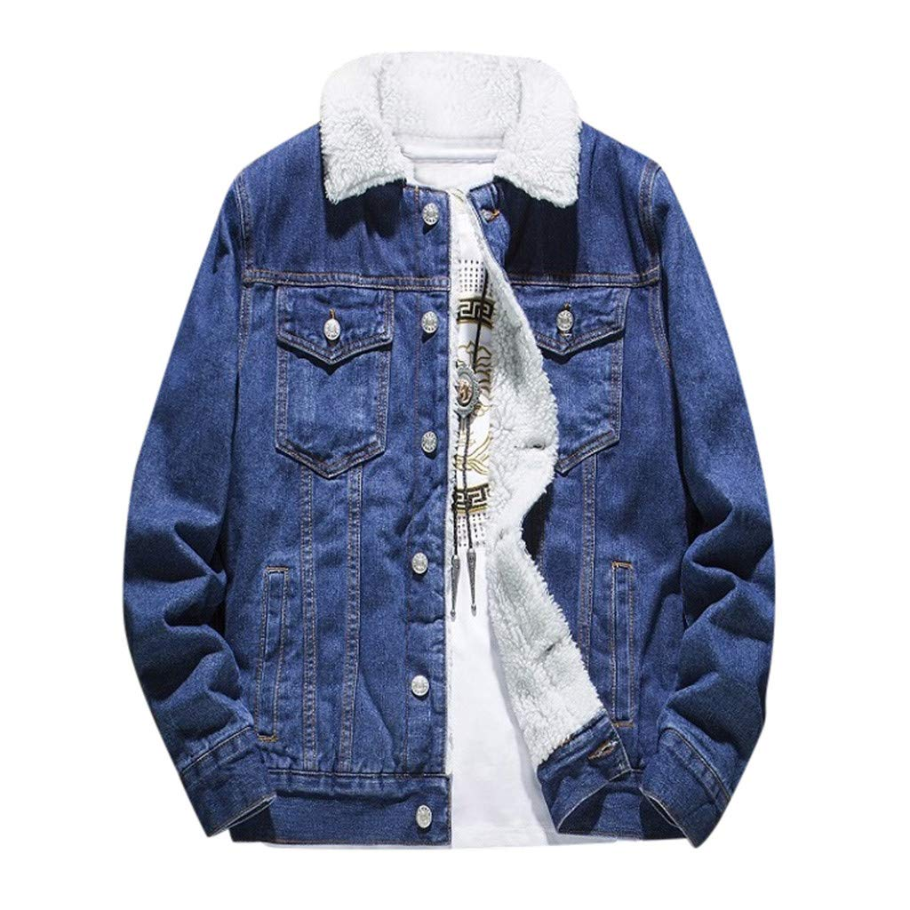 WINJUD Mens Denim Jacket Winter Thicken Vintage Wash Distressed Top Long Sleeve Coat (Dark Blue,L) by WINJUD
