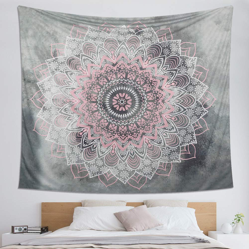 "Dremisland Indian Tapestry Hippie Bohemian Grey&Pink Mandala Flower Tapestry Wall Hanging Bedding Tapestry (Pink&White Flower, L:80""X60"")"