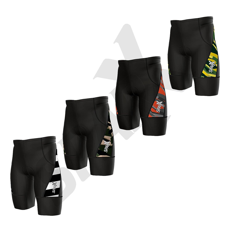 Sparx Men`s Activate Triathlon Shorts Printed TriShort | 2 Easy Reach Pockets| Swim-Bike-Run Sparx Sports