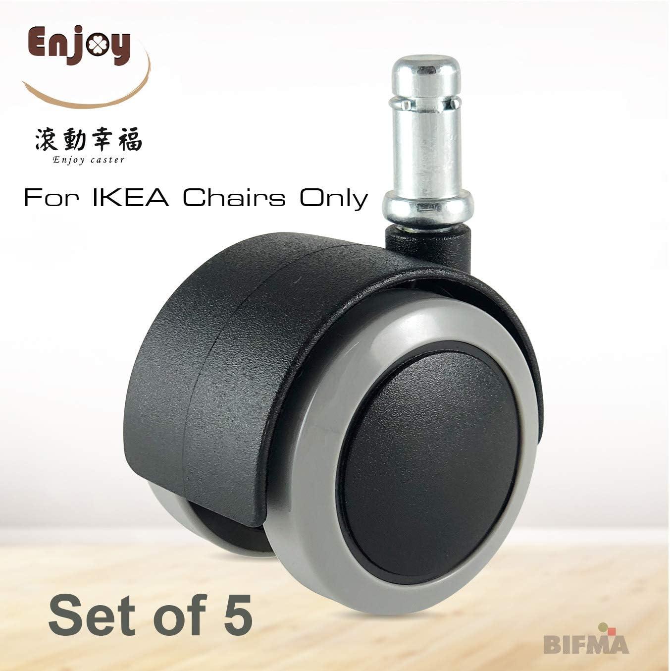 "Set of 5 ENOJOY CASTER Enjoy Office Desk Chair Replacement Soft Polyurethane Wheels Casters with 3//8 /"" stem 10mm Fit IKEA 5007BUG-14-IK Gray//Black"