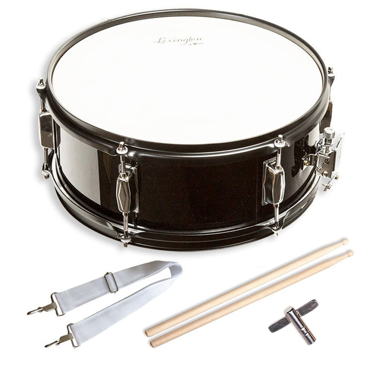 Snare Drum Set Student Steel Shell 14'' X 5.5'', Includes Drum Key, Drumsticks and Strap