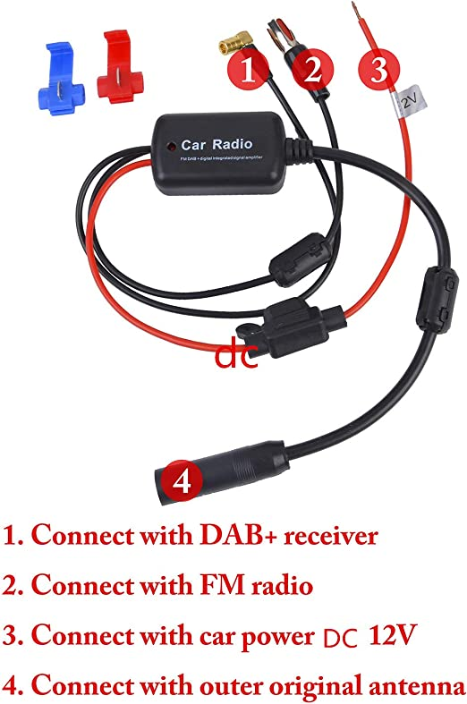 Fansport Amplificador Antena Coche + Amplificador de la señal de FM Amplificador de la Antena para Antena Coche