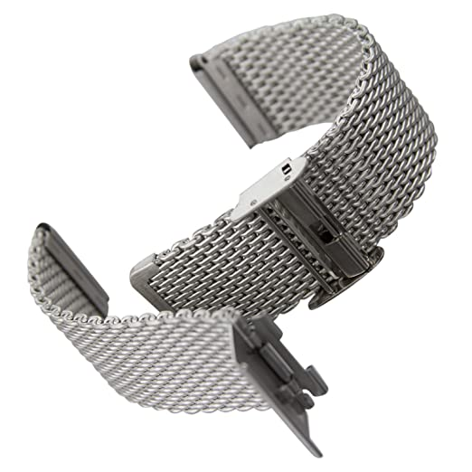 d8d0aa0e85353a Geckota classic milanese mesh stainless steel watch strap satin silver jpg  522x522 Strap satin