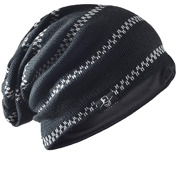 f8395191120 FORBUSITE Men Knit Slouchy Summer Beanie Skull Cap Winter Hat B734 (Black)