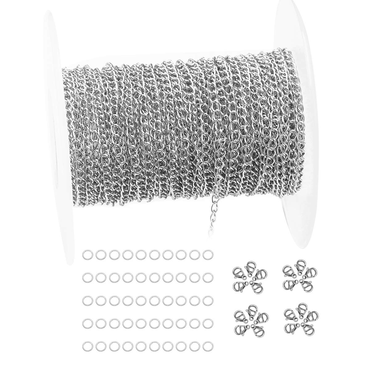 Tiparts 33FT Silver Cable Chains Stainless Steel Extender Chains Link Necklace Bulk for Jewelry Making with 20 Lobster Clasps and 50 Jump Rings Silver, 2mm