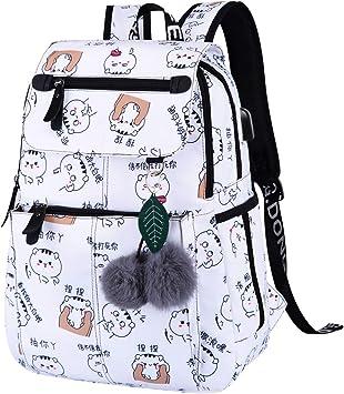 Mochilas Escolares Juveniles Chicas Mochila Escolar Juvenil Mochilas Colegio Instituto Universitarias Grandes Mujer Maletas Bolsos Escolares con USB Puerto de Carga para Secundaria Portatil Viaje: Amazon.es: Equipaje