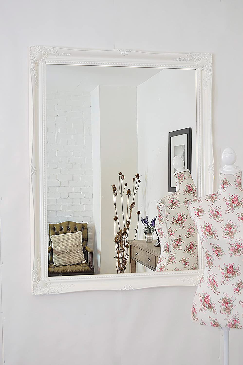 extra large french white shabby chic ornate framed bevelled wall overmantle decorative mirror 46inch x 36inch 117cm x 91cm stunning quality ready to