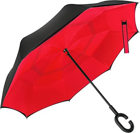 Double Layer Windproof Reverse Umbrella for Car and Outdoor Use