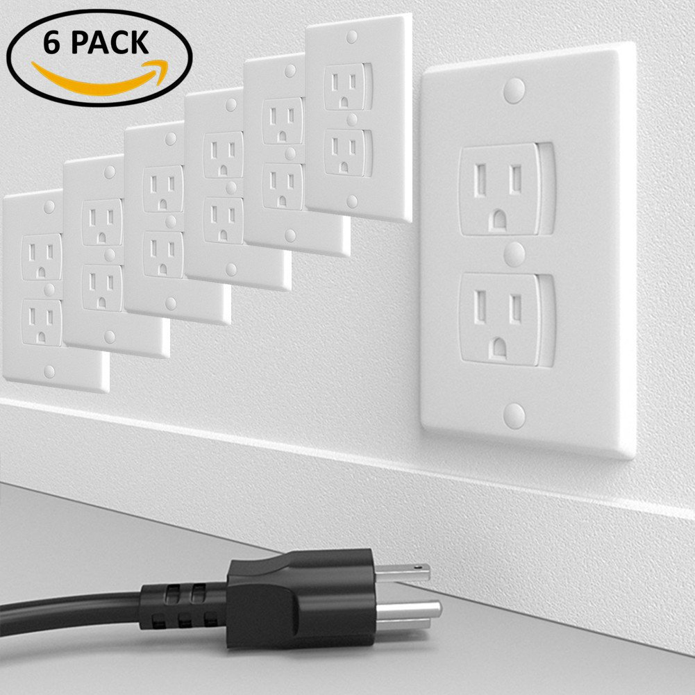 Universal Self-Closing Electrical Outlet Covers, Child Safety Guards Socket Plugs Protector, BPA Free, 6 Pack, Hardware Included