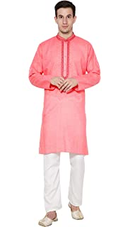 SKAVIJ Mens Tunic Cotton Kurta Pajama Set Indian Yoga Casual Holi Dress