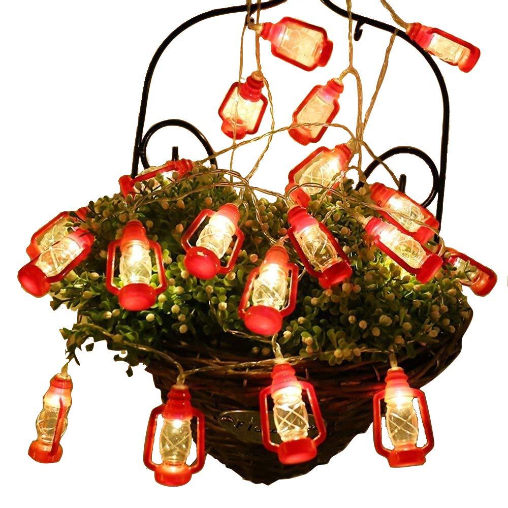 Gzero 30 LED Red Lantern Mini Kerosene String Lights For Patio Garden Holiday Home Decorations (Warm white light)