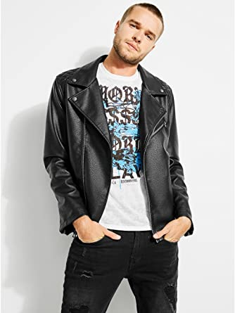 Guess Men S Pebbled Faux Leather Moto Jacket At Amazon Men S