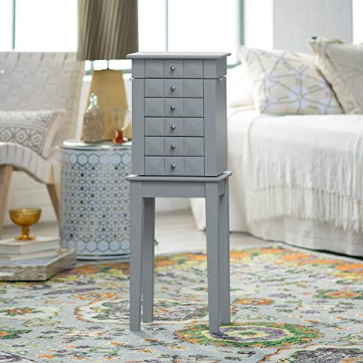 Amazon Com Home Collection Modern Luxe Gray Freestanding Jewelry Armoire Storage Cabinet Jewelry Box Home Kitchen