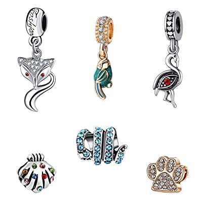ef974f999 Amazon.com: KimYoung Charms for Pandora Charms Bracelet - Cute Charm Sets  Bead for Bracelet and Necklace for Women Girl on Birthday Galentines(Cute  Animal ...