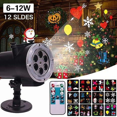Luces LED de proyector de Navidad de 2019, 12 proyectores remotos ...