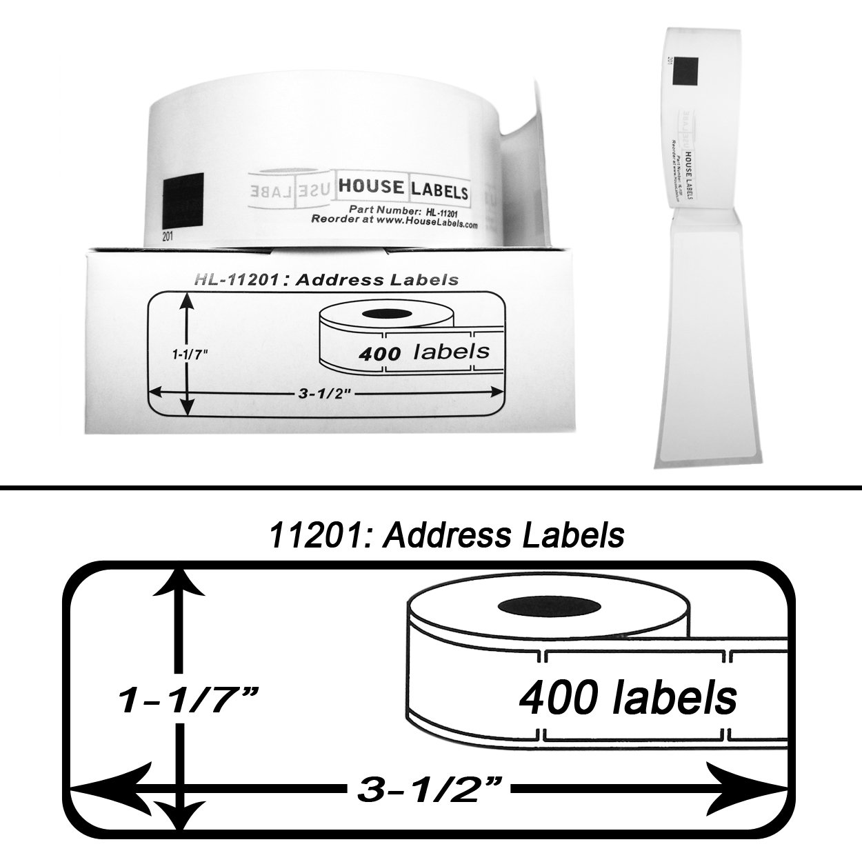 36 Rolls; 400 Labels per Roll of BROTHER-Compatible DK-1201 Address Labels (1-1/7'' x 3-1/2''; 29mm90mm) -- BPA Free! by HouseLabels (Image #2)