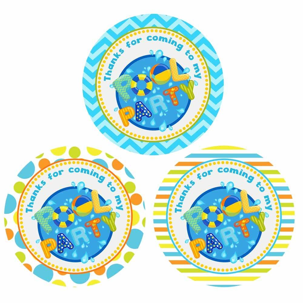 EU Boy Pool Party Thank You Stickers Lot de 30 Enfants Enfants anniversaire d/ét/é D/écoration Favors Adorebynat Party Decorations