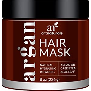 ArtNaturals Argan Oil Hair Mask - Deep Conditioner - 100% Organic Jojoba, Aloe Vera and Keratin - Helps Repair Dry, Damaged or Color Treated Hair after Shampoo - for All Hair Types - Sulfate Free - 236 ml.